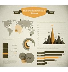 Yellow retro vintage set of Infographic elements vector image