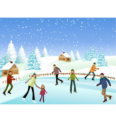 Winter skaters vector