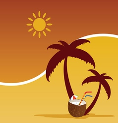 Summer with coconut color vector