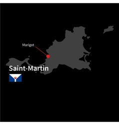 Detailed map of saint-martin and capital city vector