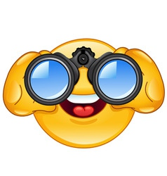 Binoculars emoticon vector