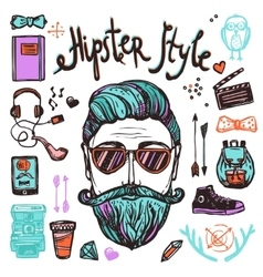 Hipster cartoon sketch concept vector
