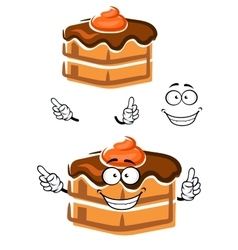 Cartoon chocolate cake with ganache frosting vector