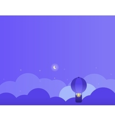 Night background with clouds balloon and moon vector