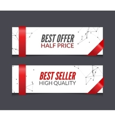 Set of promotional market sale banners vector