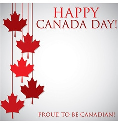 Hanging maple leaf canada day card in format vector