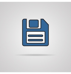 A blue icon with diskette inside vector