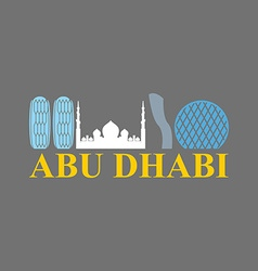 Abu dhabi sign sight uae skyscrapers and a mosque vector