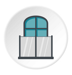 Balcony with a glass fence icon circle vector