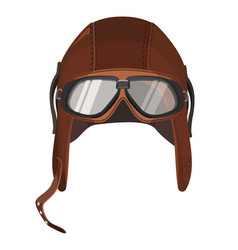 brown aviator hat with goggles isolated on white vector image vector image