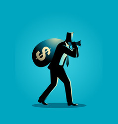 Businessman carrying a money bag on his shoulder vector