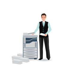 Businessman using copy machine or printing machine vector