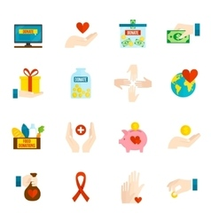 Charity icons flat set vector