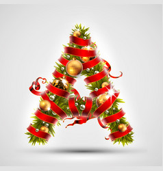 christmas font letter a of christmas tree vector image vector image
