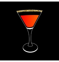 Cocktail in martini glass party card glowing vector