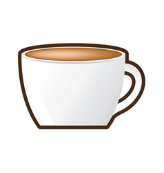 Cup coffee porcelain drink hot vector