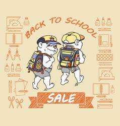 cute bear with backpack back to school sale vector image