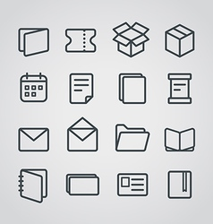 Different paper stuff icons collection vector image vector image