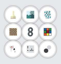 Flat icon games set of jigsaw gomoku chess table vector