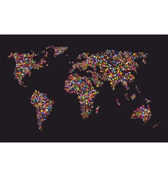 Grunge colourful collage of world map vector image