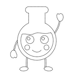 Happy flask laboratory kawaii icon image vector