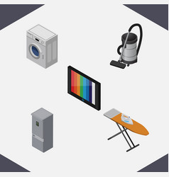 Isometric technology set of vac television cloth vector