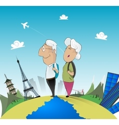 Old couple travel around the world vector