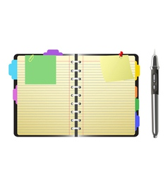 open personal organizer and pen vector image