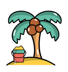 Palm with bottle of sand in the beach on vacation vector