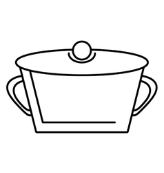 Pot steel soup hot cooking design outline vector