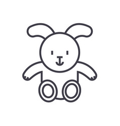 rabbit baby line icon sign vector image vector image