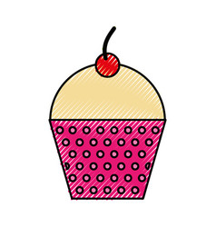 Scribble cute fuchsia cupcake cartoon vector