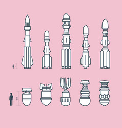 Set of military missiles and ammunition vector