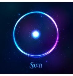 Shining blue neon zodiac sun symbol vector
