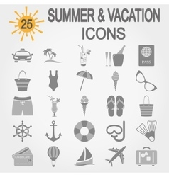 Summer travel and vacation icon set vector image vector image
