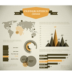 Yellow retro vintage set of infographic elements vector
