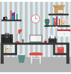 Home workplace flat design vector