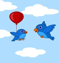 Baby bird cartoon learn how to fly using balloon vector