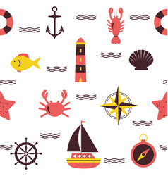 Marine seamless pattern sea theme nautical vector