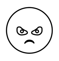 Silhouette emoticon face furious expression vector