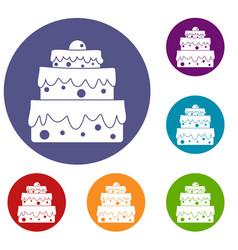 Big cake icons set vector