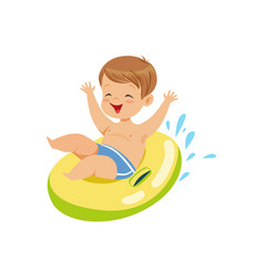 Cute boy having fun floating with lifebuoy vector