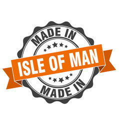 Made in isle of man round seal vector