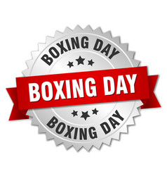 Boxing day round isolated silver badge vector