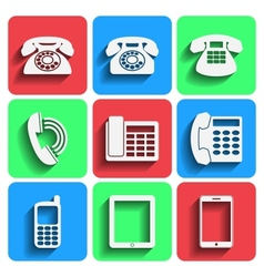 Phone Icons With Shadow vector image