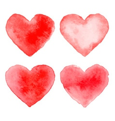 Set of colorful red watercolor hearts vector