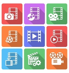 Trendy flat film icon pack vector