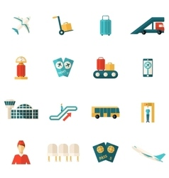 Airport icons flat vector