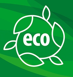 eco logo in the shape of the leaves on a green vector image