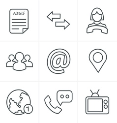 Line icons style media and communication icons vector